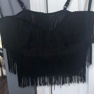 Adorable Black Fringe Corset